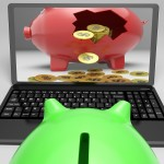 Coins Piggy Screen Shows Savings And Investment